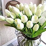 StillCool Blumen Tulpen Künstliche mit Blättern für Hochzeits-Blumenstrauß Deko Blumen Tischdeko Blumendeko Kunstblumen in 7 Farben Blumendekoration (weiss, 6)
