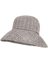 ... Sombreros y gorras   Gorro de pescador   ililily. ililily Casual Cotton  Plaid Boonie Hat Solid Color Stitched Bucket Fedora Hat d4aa14480cd