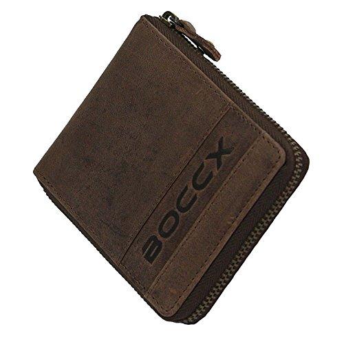 BOCCX Leder Herrenbörse mit Reißverschluss RFID-Schutz Geldbörse Vintage Geldbeutel Portemonnaie Reißverschlussbörse 40021z Braun GoBago