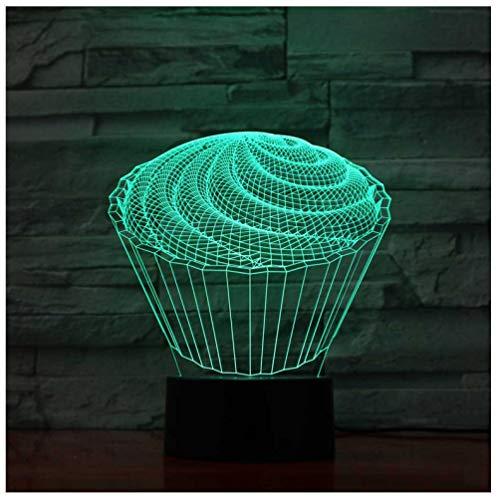 3D Led Die Spirale Kuchen Tischlampe 7 Bunte Dekor Baby Schlafzimmer Nachtlichter Dessert Kinder Spielzeug Geschenke Fernbedienung Dessert-club