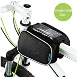 Cycling Frame Pannier Cell Phone Bag, WOTOW Bike Front Top Tube Touchscreen Saddle Bag Rack Mountain Road Bicycle Pack Double Pouch Mount Phone Bags Fit Iphone 6 Plus, Samsung Galaxy Note 3 up to 5.7'