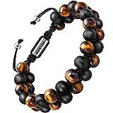 Armband Männer Perlenarmband Stein Armband aus Lava Rock mit einstellbar Verschluss Parfum Diffusor,7''-9'' Perfektes Geschenk (große perlen mit tigerauge)
