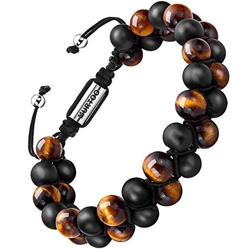 Armband Männer Perlenarmband Stein Armband mit einstellbar Verschluss Parfum Diffusor,7\'\'-9\'\' Perfektes Geschenk MEHRWEG (große perlen mit tigerauge)