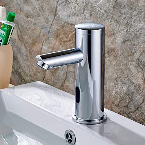 Aimadi Infrarot Sensor Wasserhahn Automatisch Induktion Badarmatur Wassersparen Waschtisharmatur Handwaschbecken Batteriebetrieb Chrom kaltwasser -