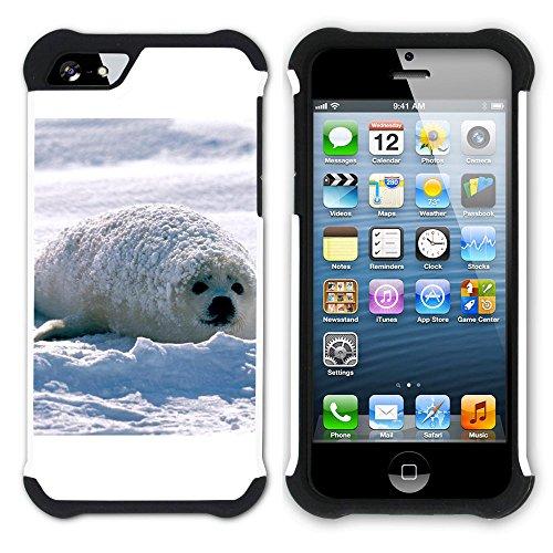 Graphic4You Seehund Tier Weiß Hart + Weiche Kratzfeste Hülle Case Schale Tasche Schutzhülle für Apple iPhone SE / 5 / 5S Design #1
