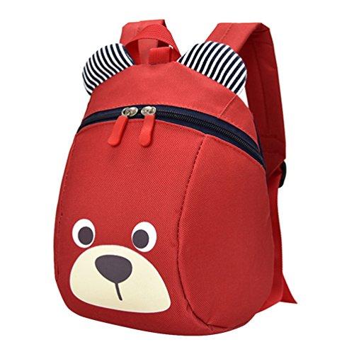 Vbiger Zaino per bambini anti-perso Zaino scuola adorabile con il guinzaglio per ragazzi e ragazze(Rosso)
