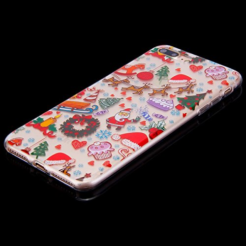 Etsue iPhone 7 Plus Cover Tpu,iPhone 7 Plus Custodia Trasparente,Morbido Soft Gel Cover Bella/Creativo/Fresco Modello in Silicone Gomma Antigraffio Protettivo Case Cover Per iPhone 7 Plus+Blu Pennino  Parco giochi di Natale