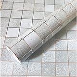 Bleulover 45X500Cm Cuisine Étanche Mosaic Wall Sticker Papier D'Aluminium Auto-Adhésif Anti Huile Wallpaper Gris