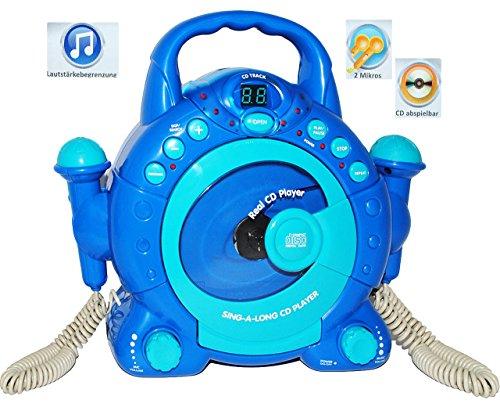 Unbekannt CD-Player mit 2 Mikrofonen / LED-Display blau - tragbar Mikrofon - Kopfhöreranschluß - Programmiertasten - Karaoke - Netzadapteranschluß für Kinder Mädchen un..