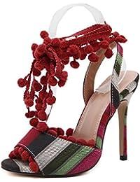 Open Toe Ankle Strap Pump Verano Nueva Bohemia Cuero De TacóN Alto Borla Sandalias Mujer, Red, 37 Alta Calidad...
