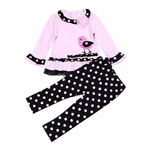 YiZYiF Babykleidung Baby Kinder Mädchen Bekleidung Set Niedliches Polka Dots Tops Langarmshirt und Hose Outfits Gr. 74 80 86 92 Rosa + Schwarz 80-86