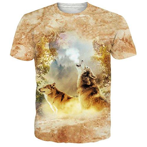 Leapparel Unisex Herren und Damen 3D Graphic Print Kurzarm Lustiges T-Shirt mit Wolf Muster Gelb XXL (T-shirt Gelbe Wieder)