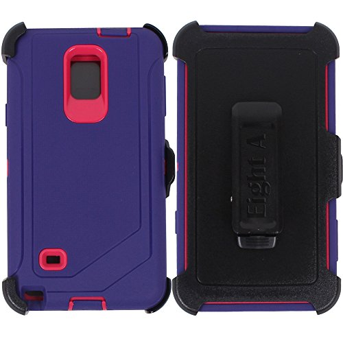 Galaxy Note 4 Case, Heavy Duty Defender Auswirkungen Rugged mit Integriertem Displayschutz Camouflage Case Cover für Samsung Galaxy Note 4, Violett/Pink (Samsung Note 4 Violett Cover)