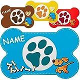 2 Stück _ Unterlagen - ' Hunde / Welpen - Knochen - bunter Farbmix ' - inkl. Name - 44 cm * 29 cm - Tischunterlage / Platzdeckchen / Knetunterlage / Malunterlage / Eßunterlage / Platzmatte - Platzset / Tischset - Tisch - Essen - abwischbar & abwaschbar - biegbar - für Kinder & Erwachsene - Schreibunterlage - Hund Haustier - Welpe / Hundehütte Kunststoff - Plastik - Kunststoffunterlage / Plastikunterlage