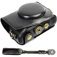 First2savvv XJPT-G7XII-01S01 Funda Cámara cuero de la PU cámara digital bolsa caso cubierta con correa para Canon PowerShot G7 X Mark II .G7X M2 negro + Correa de mano