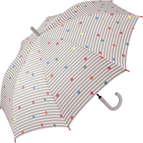Esprit Damen Stockschirm Automatik Punkte - Dots & Stripes - grey