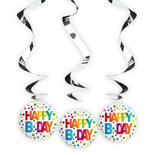 3 Espirales Giratorias Happy B Day Lunares Puntos Arcoiris Multicolor Decoración Fiestas Cumpleaños