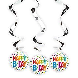 Folat Decoración de cumpleaños B Day (3 espirales Colgantes).