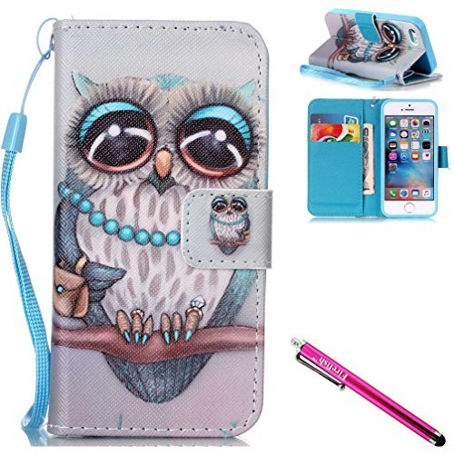 iPhone 5S Fall, iPhone 5 Wallet Fall, firefish Ständer Flip [Card Slots] Double Schicht Bumper Schale mit Magnetverschluss Strap Schutzhülle für Apple iPhone 5/5S/SE For iPhone 5/5S/SE eule (Iphone Wallet 5 Gucci)