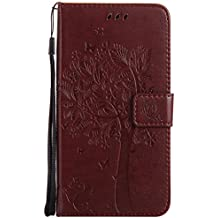Mokyo Flip Wallet Case for MOTO G6 Plus [with Free Stylus Pen],Premium Soft PU Leather Embossed Cat Butterfly Tree Pattern with [Card Slots][Magnetic Closure][Stand Function] Vintage Slim Folio Book Style 360 Protection Cover Shell + Detachable Hand Strap for MOTO G6 Plus - Brown