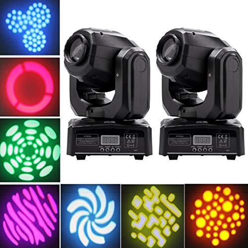 Moving Head Bühnenlicht 40W LED Partylicht 8 Gobos 8 Farbe und Halbe Farbe Lichteffekt gesteuert durch DMX512 Sound Automatische Modi für Party DJ Show Bar Bühnenbeleuchtung UKing (2 Stücke)