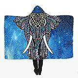 Indischer Mandala-Elefant Muster 3D Gedruckt Plüsch Mit Kapuze Decke für Betten Warme Tragbare Böhmischer Stil Weichen Fleece Werfen Decken (Mehrfarbig 2, 130 * 150 cm)