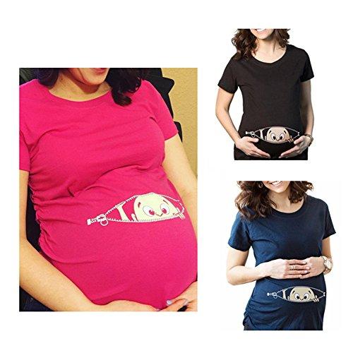 Q.KIM Witzige süße Schwangere Maternity Damen Umstandsmode T-Shirts mit Mutterschafts-niedliche lustige Slogan Motiv Schwangerschaft Geschenk Kurzarm I'm coming ,heiße Rose