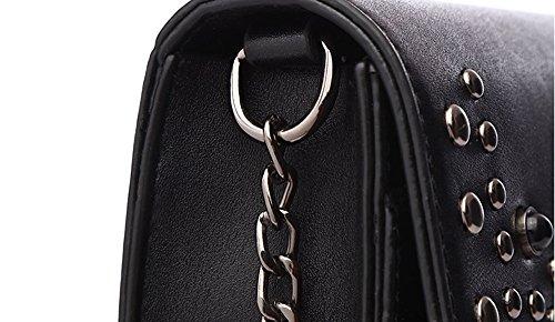 Versione coreana degli uomini dello zaino obliquo selvaggio, borsa a tracolla, mini borse, pacchetto moda estiva catena ( Colore : Khaki ) Nero