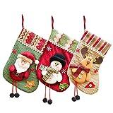 SAMGOO 3er Set Weihnachtsmann Schneemann Elch Sortiert Weihnachsstrumpf Polyester Hängende Strümpfe Weihnachtssocke für Weihnachtsdeko