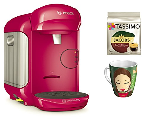 Bosch TASSIMO Vivy 2 Bundle + Ritzenhoff Sammelbecher 14. Edition + TDisc Caffe Crema classico (Pink)