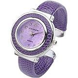 JSDDE Fashion Women's Cuff Watch, Round Case PU Leather Band, Purple (New battery))