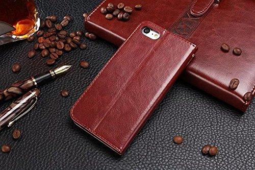 iPhone Case Cover Retro PU-lederner Fall-fester Farben-Mappen-Standplatz-Fall-schützender Shell-Beutel mit Handbügel für IPhone 7 Plus ( Color : Rose , Size : IPhone 7 Plus ) Brown