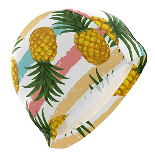 Gebrb cuffie da nuoto,cuffie da bagno,cuffia piscina swim cap summer pineapple pattern swimming hat cover ears no-slip bathing cap for men
