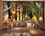 Personnages intérieurs de Haut Niveau de Peinture intérieure Papier Peint personnalité Bois Bosquet lumière du Matin Papillon Volant 3D Papier peint-450x300cm
