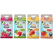 TeeFee Bio Eistee Getränk - 4 Sorten (Apfel, Himbeere, Mango, Pfirsich), ohne Kalorien und zuckerfrei (4 x 0,5l)