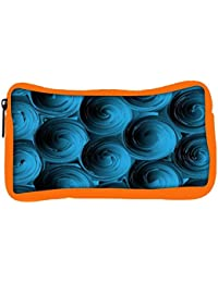 Snoogg Eco Friendly Canvas Blue Spiral Student Pen Pencil Case Coin Purse Pouch Cosmetic Makeup Bag