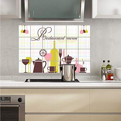 Wiwhy 60X90 Cm / 24X36In Küche Öl Wandaufkleber Geschirr Muster Wandtattoos Fliesen Wandbilder Diy Selbstklebende Wohnkultur