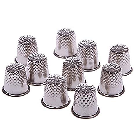 yeqin (TM) 10pcs 18mm dedo agarre pantalla Pin Aguja de costura dedales de metal escudo Shield