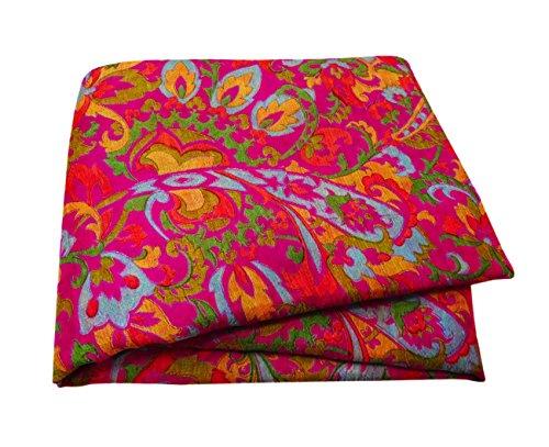 PEEGLI Jahrgang Indischen Gedruckten Sari Rosa Seide Mischung DIY Kunst Dekor Handwerk Stoff Frauen Saree (Seide Sari Rosa)