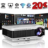 WiFi Beamer Bluetooth Android 6.0 HD Videoprojektor 4500 Lumen LED 7500:1 Kontrast Unterstützt 1080P HDMI VGA AV USB Heimkino Projektor für PC Smartphone TV Laptop Videospiele Telefon iPad DVD Player
