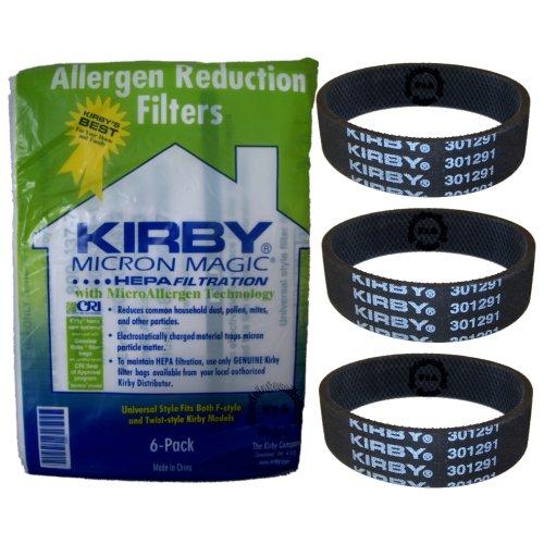 Original Kirby Universal Allergen Filter - Filtertüten 6er Pack + 3 Flachriemen für alle Modelle G3 - Sentria II (204811+301291) (Kirby G4 Staubsauger, Taschen)