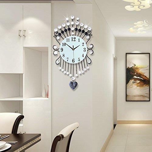 Soggiorno creativo parete orologio moda moderna pendolo semplice orologio muto creativo cristallo Art Deco orologi (Art Deco Di Cristallo)