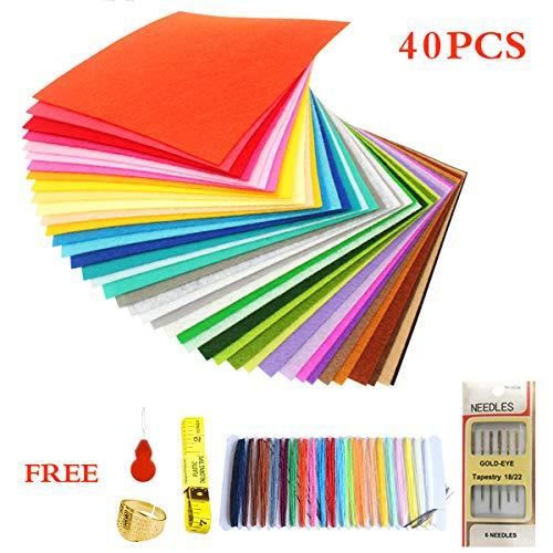 BEMEI Filz Stoff 40 STÜCKE DIY Polyester 20 * 30 cm für Handwerk Patchwork Nähen Quadrate