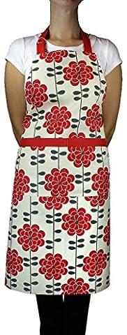 MUkitchen verstellbar Baumwolle Herringbone Weave Schürze mit großen Taschen Aster Red
