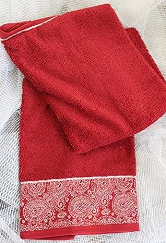 Towel Terry Guest Towel with Jacquard Border 450g/m² 50x 100cm bordeaux
