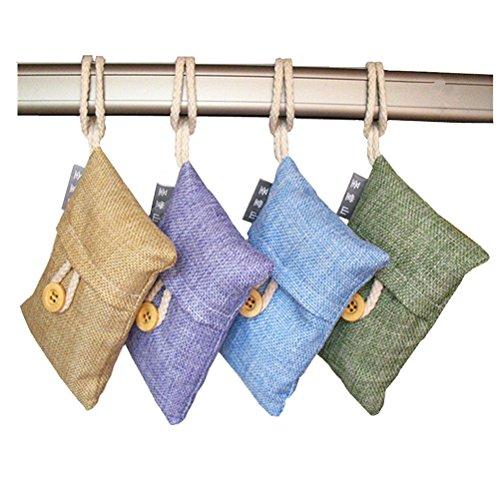 LEORX 4 confezioni di purificante bambù naturale di aria sacchetto di carbone, aria deodorante sacchetto (colore casuale)