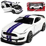 alles-meine GmbH Ford Shelby Mustang GT350R VI Coupe Weiss mit Blauen Streifen Ab 2014 1/24 New Ray Modell Auto mit individiuellem Wunschkennzeichen