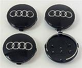 badgedirect 4b06011704Stück Kappen Abdeckkappen Nabe für Felgen Aluminium Audi A3A4A5A6A7A8S4S5S6S8S4RS4Q3Q5Q7TT S line Quattro A4L A6L und andere Modelle schwarz 60mm