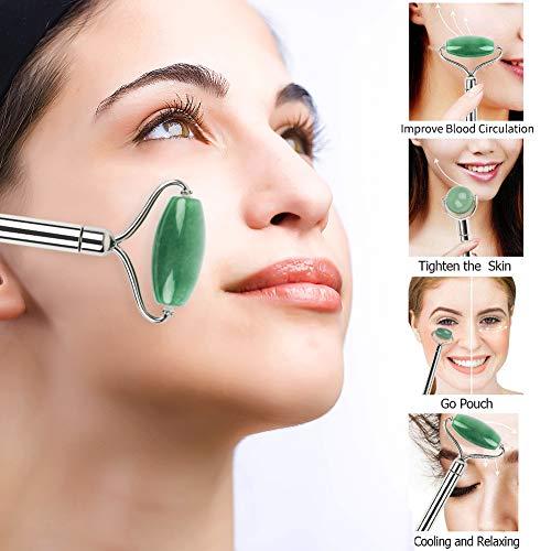 Masaje antienvejecimiento con masajeador de rodillos de jade para rostro, ojos, cuello, terapia Rodillo facial de jade natural 100% anti arrugas y rejuvenecer la piel (verde)