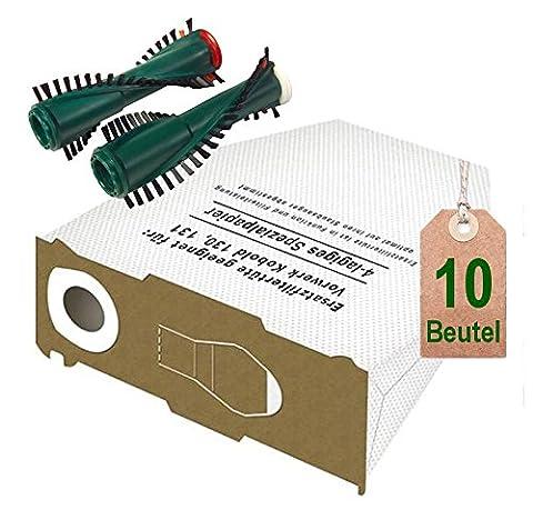 10 weiße Staubsaugerbeutel Filtertüten und Bürsten passend für Vorwerk Kobold VK 130 , Kobold VK 131 und 131 SC